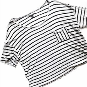 Aerie• black white striped slightly cropped tee